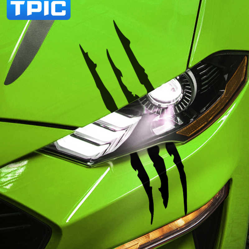 Auto adesivos de carro faróis fantasma garra scratch decalques capô do motor pata marca listra decoração para ford mustang 2009-2019 acessórios