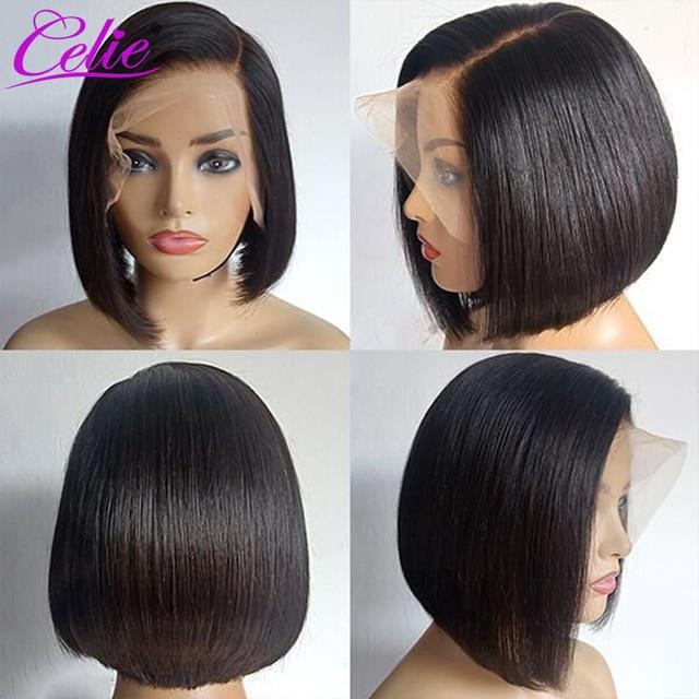 Celie Side Part Straight Bob Wig Lace Front Human Hair Wigs Pre Plucked Straight Human Hair Wigs Side Part Bob Lace Front Wig