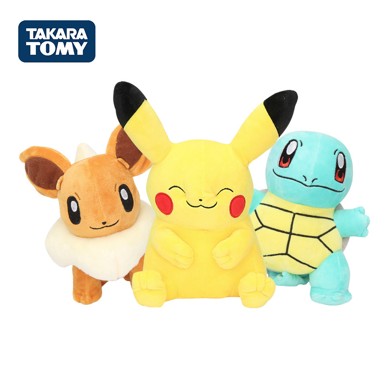 Takara Tomy Genuine Pokemon Pikachu Eevee Plush Toys Snorlax Charmander Bulbasaur Animal Plush Stuffed Toys For Children Gift