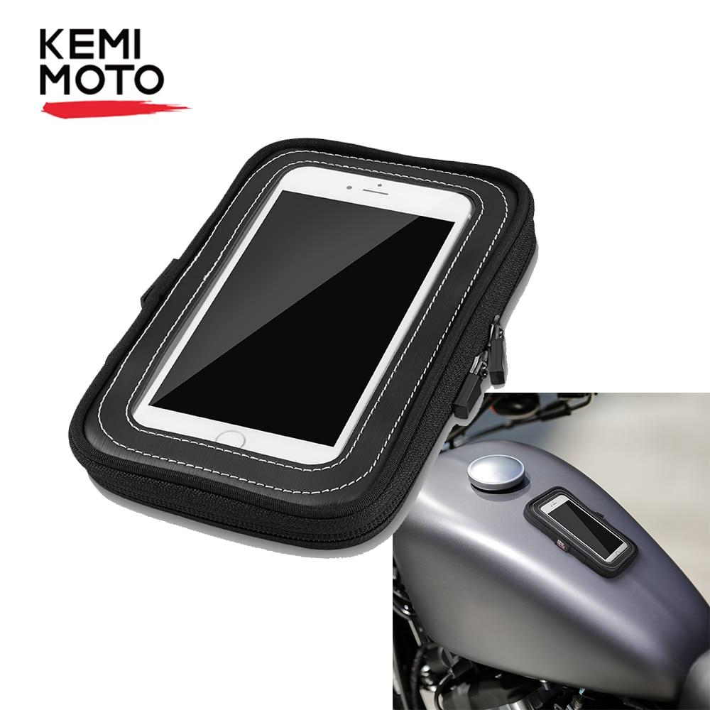KEMiMOTO-bolsas de depósito para motocicleta, bolsa de tanque magnético impermeable con pantalla táctil para teléfono, GPS, para BMW R1200GS, Sportster Touring MT09