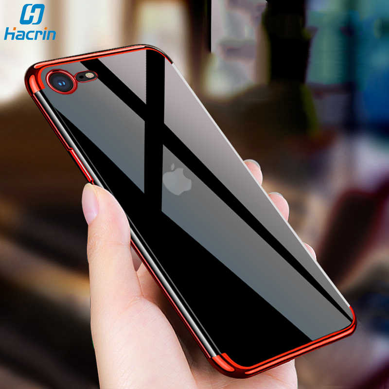 Hacrin Case Voor Iphone Se 2020 Case Soft Tpu Transparant Clear Laser Plating Cover Voor Iphone SE2 Se 2 Case beschermende Bumper