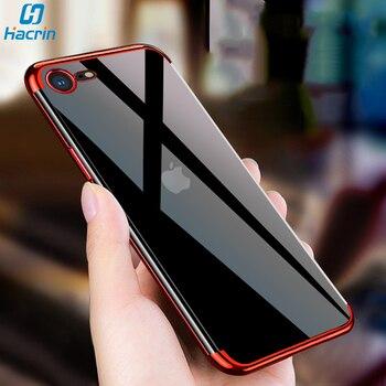 Перейти на Алиэкспресс и купить Чехол Hacrin для iPhone SE 2020, мягкий прозрачный чехол из ТПУ с лазерным покрытием для iPhone SE2 SE 2, защитный бампер