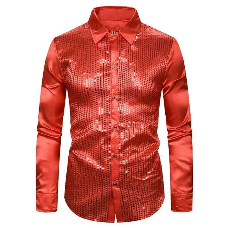 Мужские Роскошные блестящие рубашки с блестками, новые шелковые атласные блестящие вечерние рубашки с длинным рукавом для дискотеки, Мужской Топ для сцены, танцев, выпускного бала