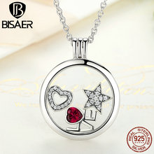 BISAER 2017 New Genuine 925 Sterling Silver Medium Floating Locket Necklaces & Pendants Jewelry S001