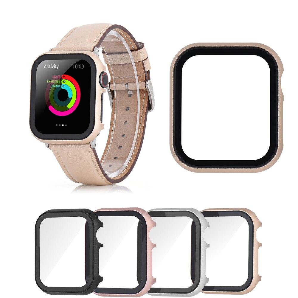 Relógio de Metal Capa com Filme Temperado para Apple Novo Case 3 2 1 44mm 40mm 42mm 38mm Tela Acessórios Protetores Ver 5 4