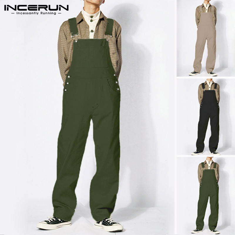 INCERUN Fashion Men Jumpsuit Streetwear Rompers Solid Baggy Pockets Joggers Straight Pants Suspender Men Overalls 2019 Plus Size