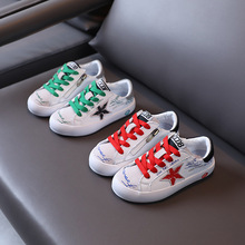 Children's board shoes 2021  new boys genuine leather breathable graffiti sneakers girls star white shoes
