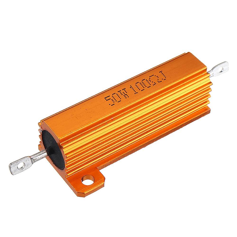 RX24 50W 100R 100RJ Metal Aluminum Case High Power Resistor Golden Metal Shell Case Heatsink Resistance Resistor