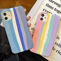 Funda de teléfono líquida oficial arcoíris de alta calidad para iPhone 12, 11 Pro Max, X, Xr, Xs max, 6, 7, 8 Plus, SE 2020, nueva funda suave a rayas