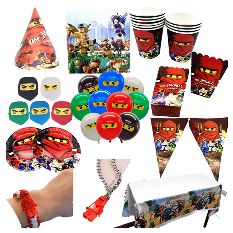 New Number Ninjagoing Theme Party Decoration Tableware Paper Cup Plate Baby Shower Balloon Kids Birthday Party Supplies