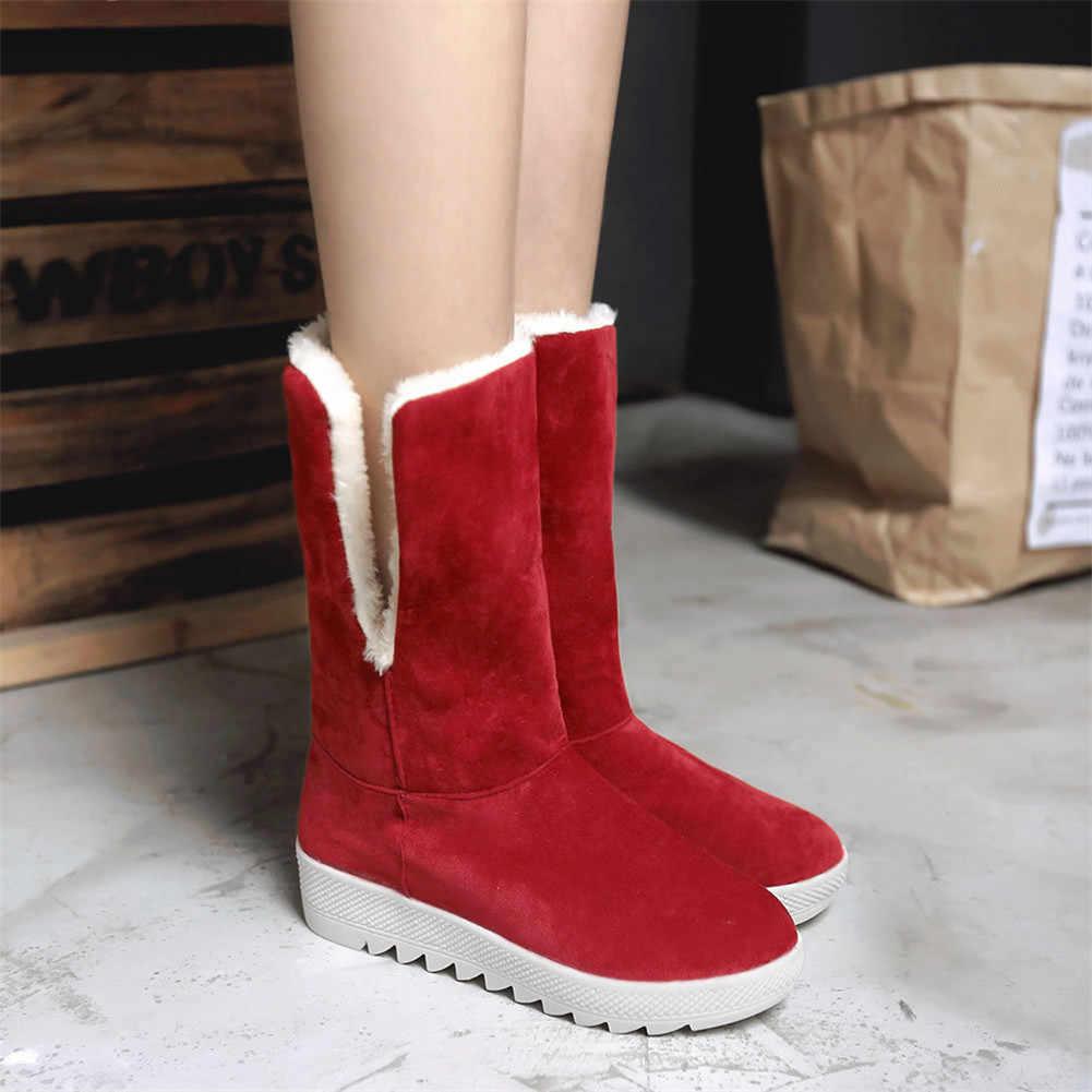DORATASIA yeni sıcak satış bayanlar tatlı kış sıcak kar botları kadın kaymaz platformu kürk çizmeler Med takozlar ayakkabı kadın