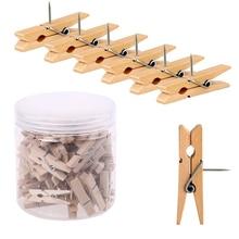 MOGII 30Pcs/Box Office & School Stationery Pins Durable Wooden Clip Push Pins Decorative Binder Thumb tacks for Cork Blackboard