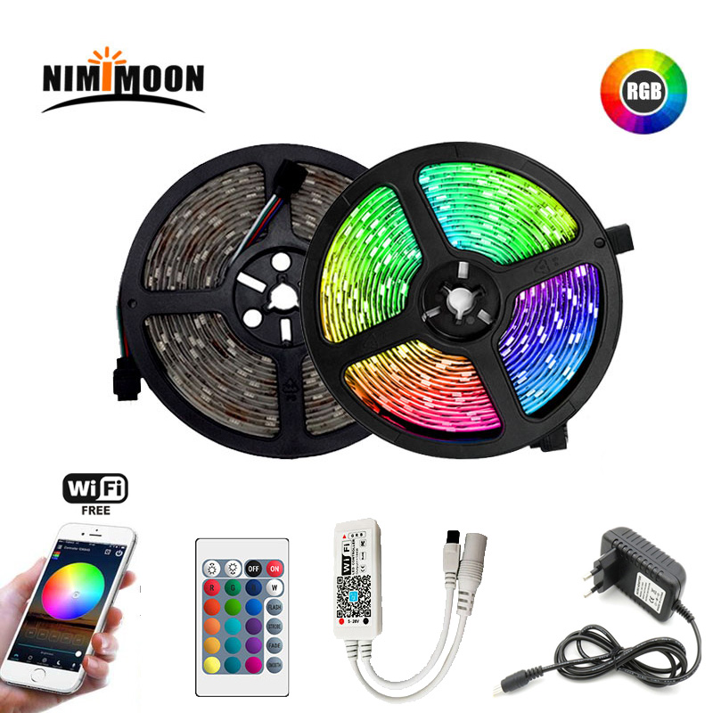 Rgb Led Strip 5 M 10 M 15 M Waterdichte Led Neon Licht 2835 DC12V 60 Leds/M Tape controller Adapter