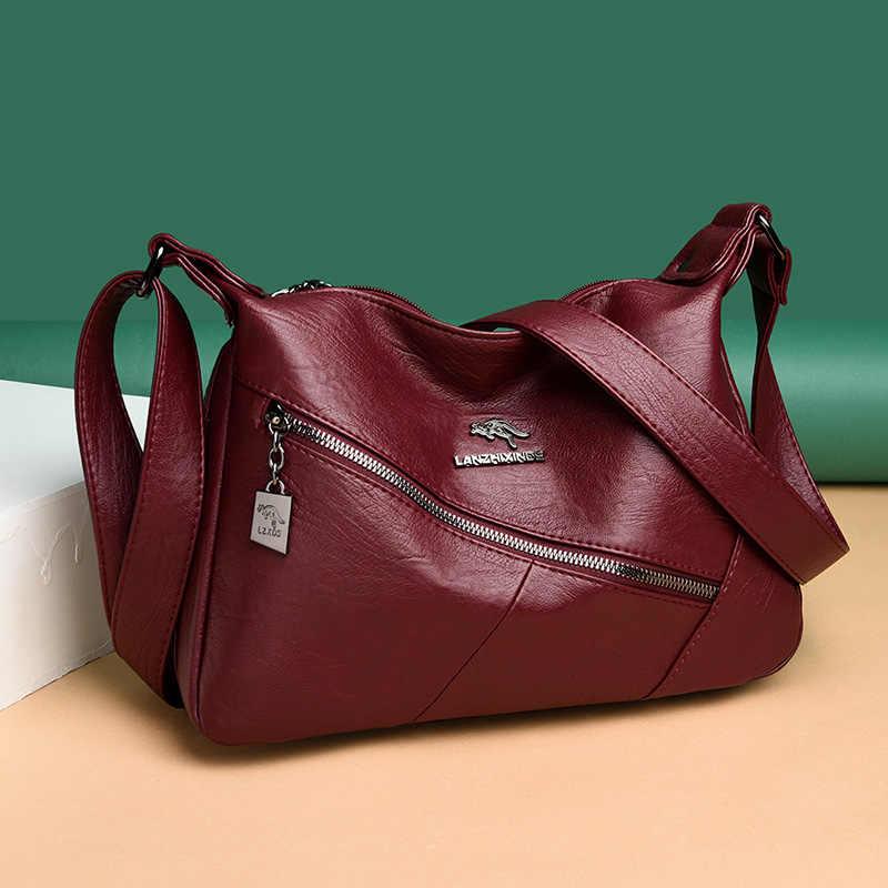 Женские кожаные сумки, Высококачественная сумка, сумки через плечо для женщин, сумки-мессенджеры на молнии, винтажная сумка на плечо, женские сумки-хобо