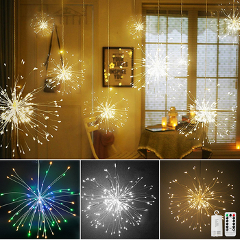 Waterproof LED Firework Light Copper Wire LED Fairy String Lights For Christmas New Year Holiday Wedding Party Decoration D30 2pcs led string lights 3 metre 30 leds starry copper wire fairy string lights for holiday party wedding christams decoration