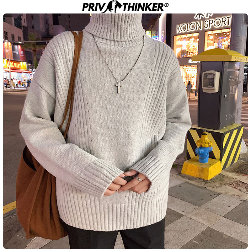 Privathinker Men's Korean Knitted Loose Turtleneck Sweater Men Autumn Winter Pullovers Tops Male Warm Fashion Sweaters 2019
