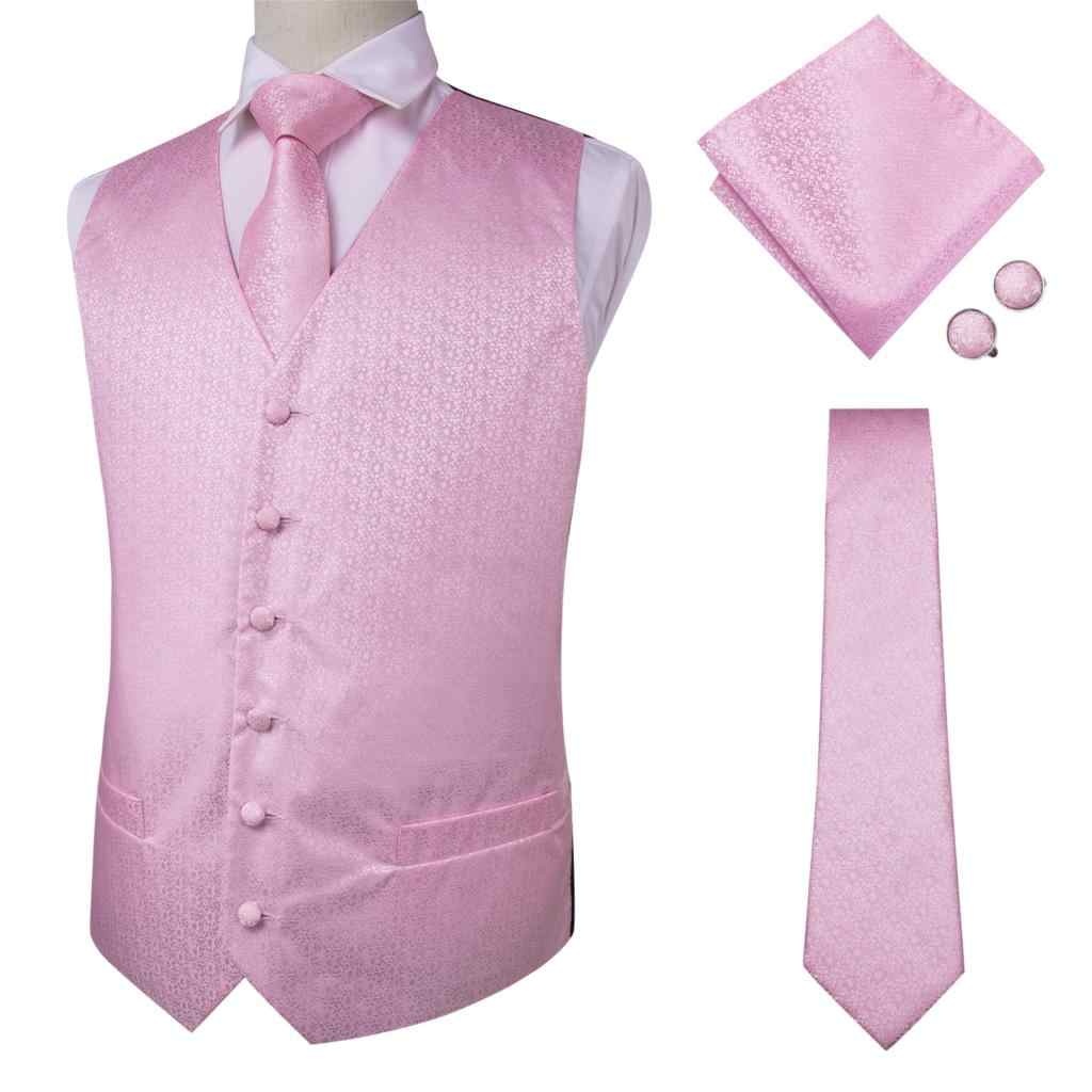 Hi-Tie nuevo vestido de Cachemira Rosa chaleco conjunto para hombres Jacquard chaleco para traje para hombre chaleco para boda Formal esmoquin chaqueta MJ-0012