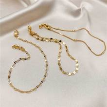 Trendy 3 Layers Gold Anklets for Women Charm Tile Chain Foot Beach Barefoot Sandals Bracelet Ankle on the leg Female Jewelry simple heart female anklets barefoot crochet sandals foot jewelry leg new anklets on foot ankle bracelets for women leg chain