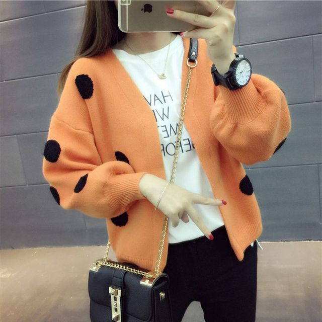 Spring dress women's autumn coat women's long sleeve top cardigan sweater trendy loose show thin wave point sweater 4