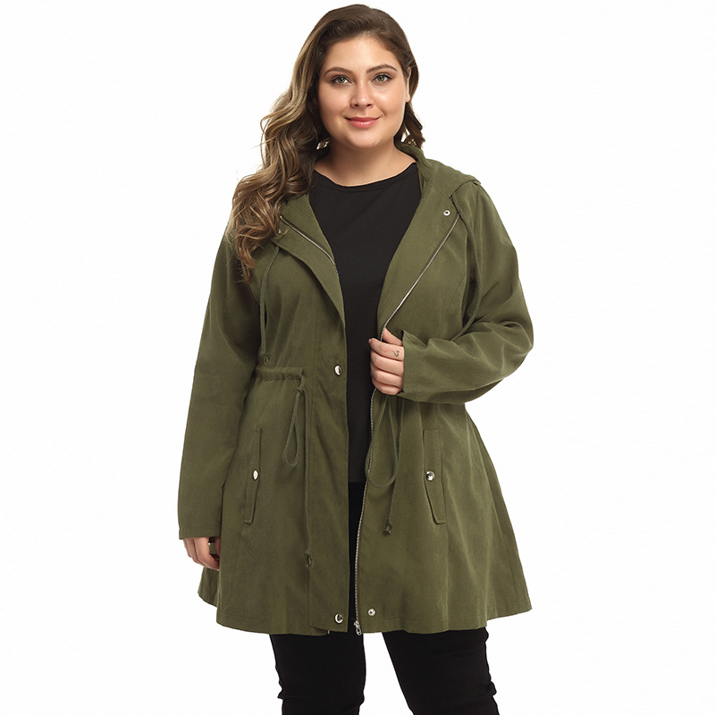 5XL Plus Size Long Coat Women Autumn Winter 2019 Female Army Green Hooded Women's Jacket Big Size Trench Coat Women Clothes