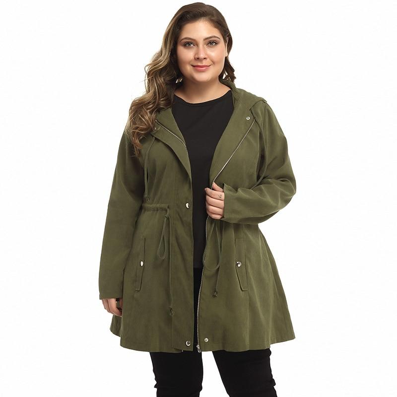5XL Plus Size Long Coat Women Autumn Winter 2019 Female Army Green Hooded Women's Jacket Big Size Trench Coat Women Clothes