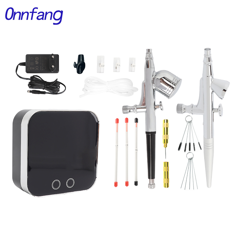 Onnfang 0.2/0.3/0.5mm Airbrush Compressor 2cc&7cc Touch Chrome Plating Machine Air Brush Use For Tattoo Body Paint Tool Art Nail Tool Spray Gun Set