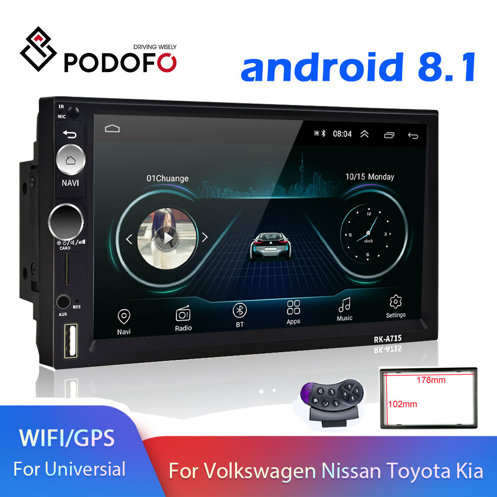 Podofo 2 Din Android Car Multimedia Player Universal Car Radio 2din GPS Autoradio For Volkswagen Nissan Hyundai Kia Toyota CR-V