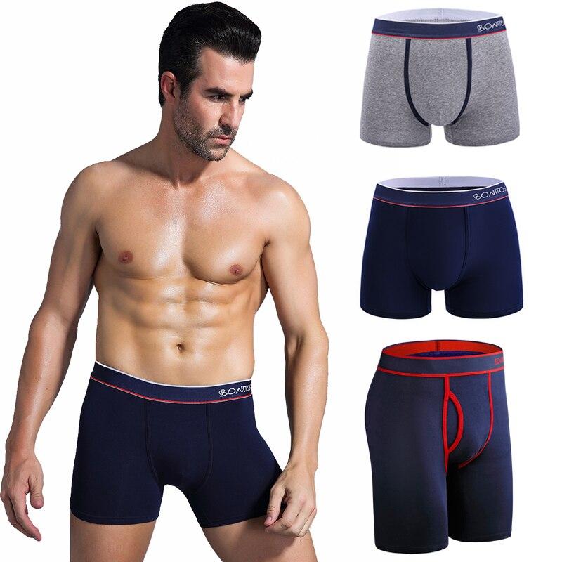 3Pcs Cotton Boxershorts Men Long Panties Set Sexy Gay Underpants Seamless Boxer Shorts For Couples Print Underwear Man Brand