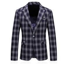 luxury single button navy plaid stylish blazer for men 2019 new brand mens casual jacket slim fit