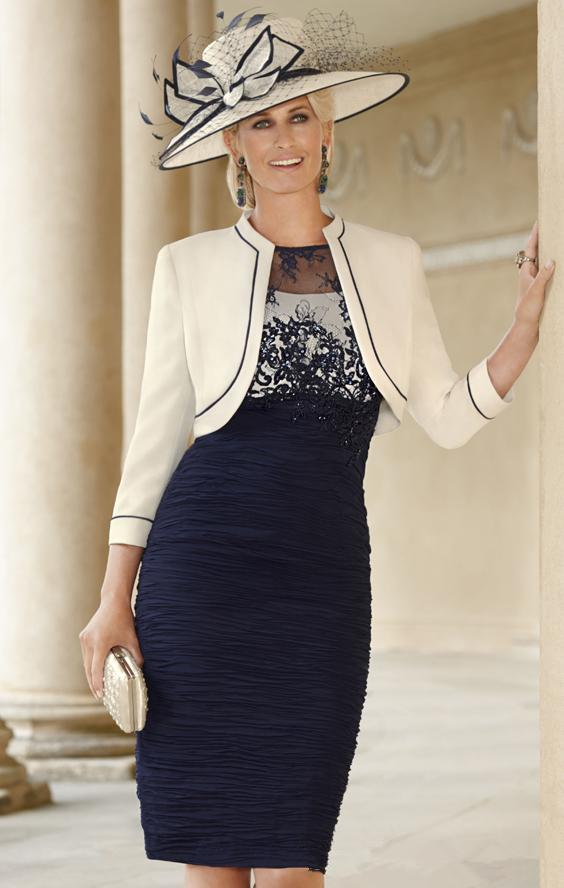 vestido novia knee Length Sheath Ruched Groom evening party gown 2020 navy blue Lace Mother Of The Bride dresses with jacket