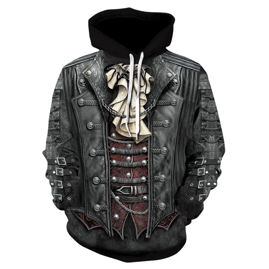 New Gothic Hoodie Men's Hip Hop Hoodie Men's / Men's Thin 3D Print Fake Denim Sweatshirt Hoodie Asian Size 6XL-S
