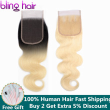 bling hair 1b/613 Blonde Brazilian Hair Body Wave Lace Closure 4*4 Fre