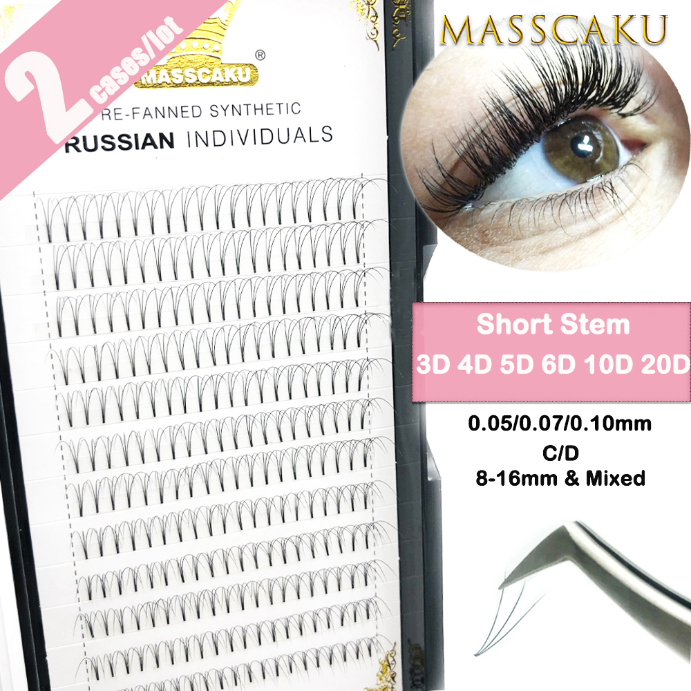 2 Cases /Lot  Premade Fans  High Quality Short Stem Volume Eyelash Extensions Wide Fans 3D 4D 5D 6D 10D 20D Lashes Faux Mink