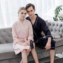 Exquisite Belt Unisex Lovers Robe Gown Pajama Soft Waffle Bathrobe Elegant Solid Sleepwear Women And Men Nightgown Homewear