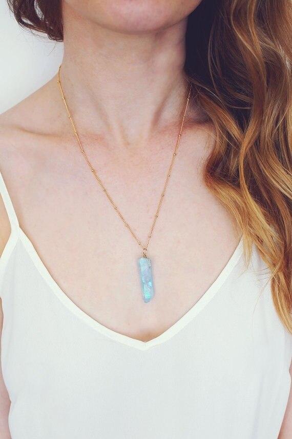 Водная аура Мистик кварцевое ожерелье небесно-голубое хрустальное ожерелье Аква Радуга Кристалл кварцевое ожерелье