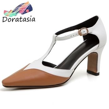 DORATASIA Girl Summer Genuine Leather Sandals Elegant mixed-color t-strap Sandals Women High Heels Ol Shoes Woman