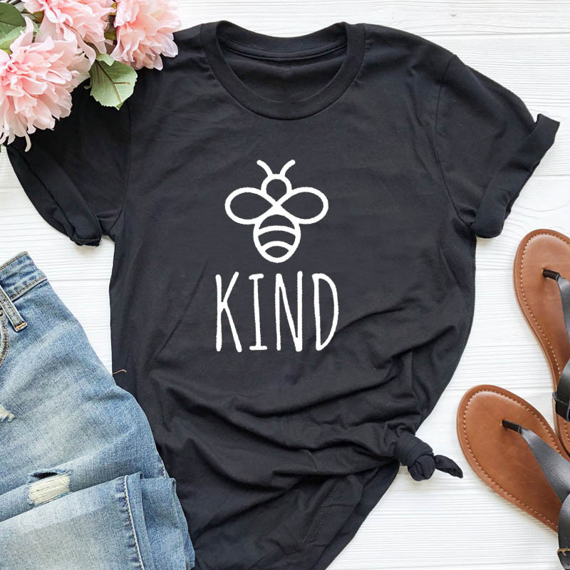 Be Kind Graphice Tee Shirt Women Cotton Oversized T-shirt Summer Fashion Bees Print Top Harajuku  Tee