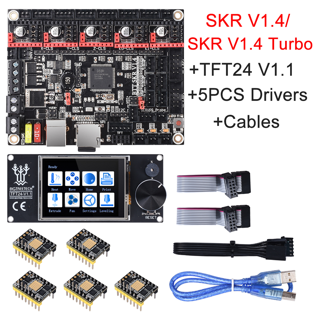BIGTREETECH SKR V1.4 Turbo SKR V1.4 Control Board+TFT24 Touch Screen+TMC2209 TMC2208  For Ender 3 SKR V1.3 MKS GEN L 3D Parts