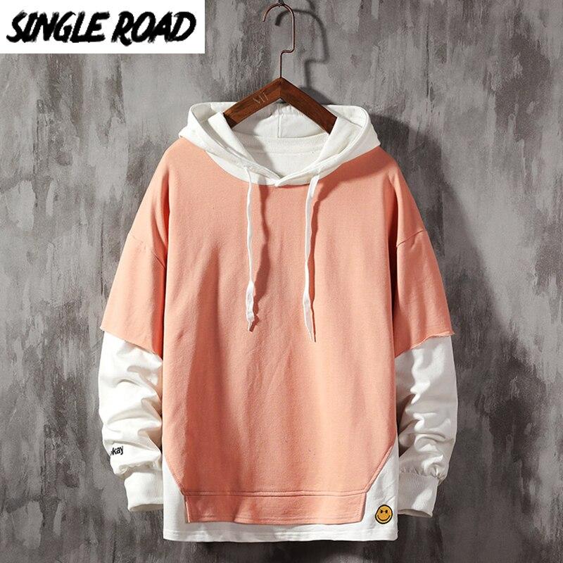 SingleRoad Men's Hoodies Plain Solid Patchwork Sweatshirt Male Hip Hop Harajuku Japanese Streetwear Pink Hoodie Men Sweatshirts