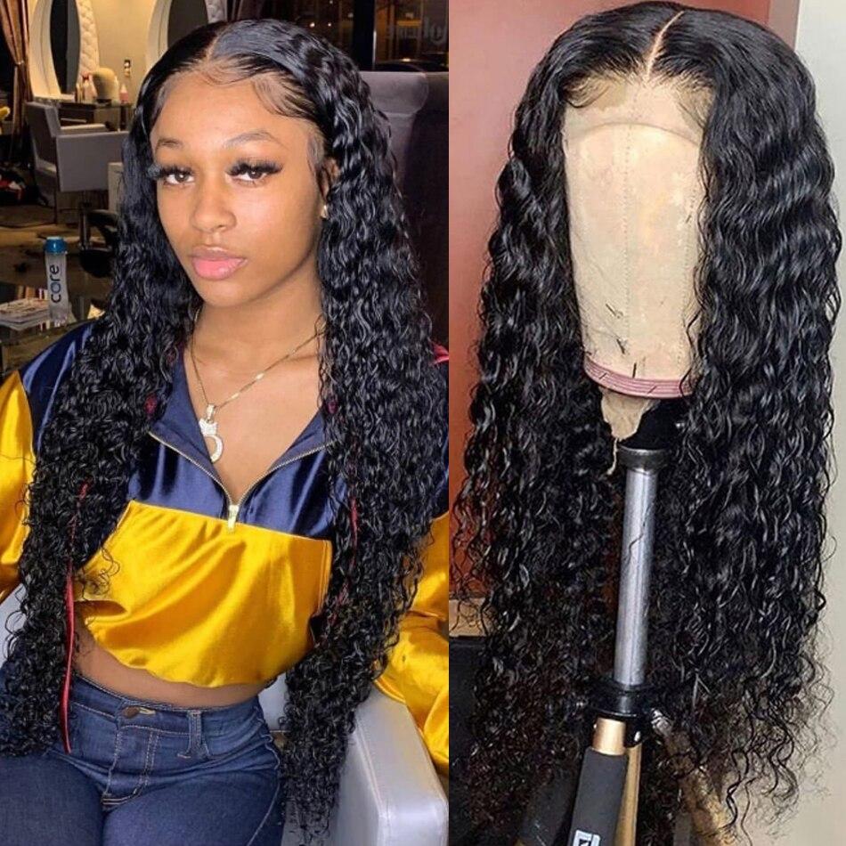 Kinky encaracolado peruca do laço do cabelo humano 4x4 cabelo brasileiro fechamento do laço peruca remy peruca do laço do cabelo com densidade 150%
