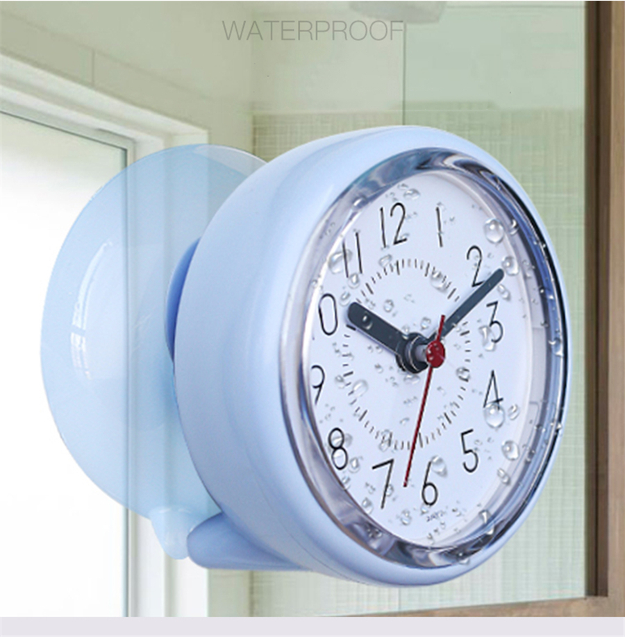 Creative Bathroom Sucker Personality Anti-Fog Waterproof Mute Kitchen Bathroom Clock Refrigerator Small Wall Clock(China)