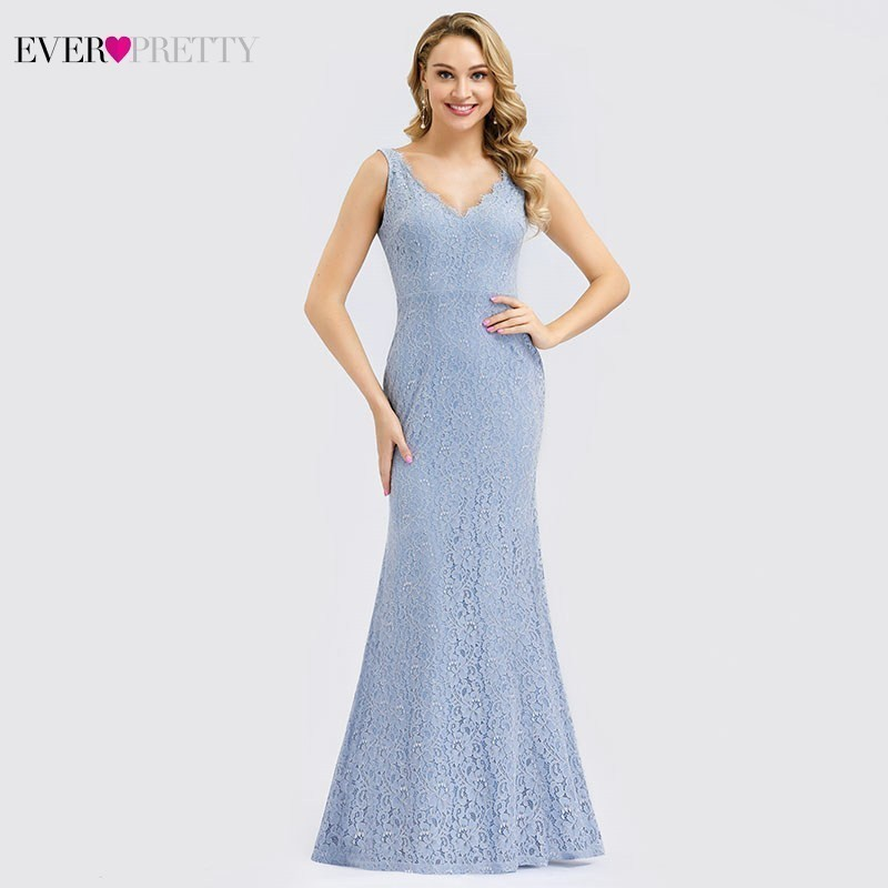 Blue Floral Lace Prom Dresses Ever Pretty Double V-Neck Sleeveless Ruched Draped Elegant Mermaid Party Gowns Vestido De Festa