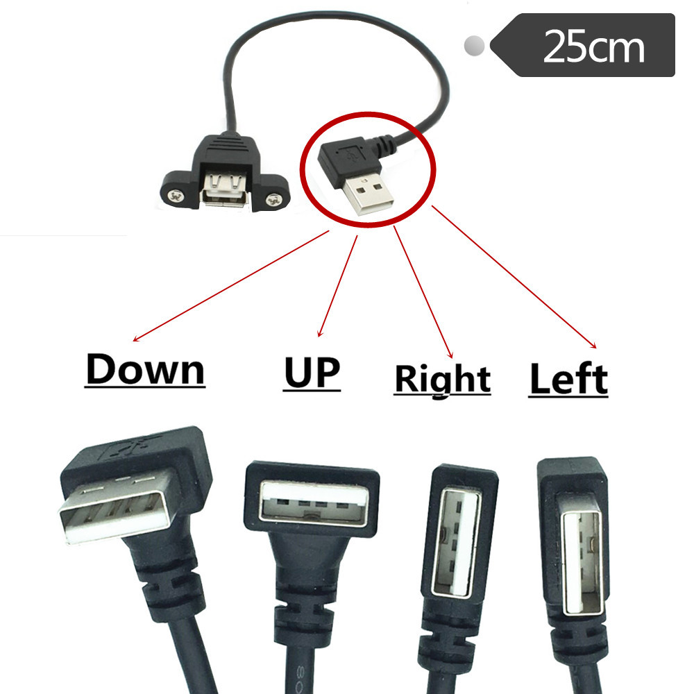 25cm 50cm USB 2.0 A Female Panel Mount To USB A Male Up Down Right Left  90° Angled Plug Extension Cable 25cm 0.25m