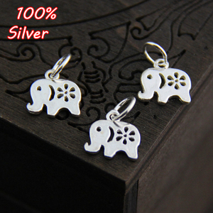 2pcs Elephant Charms 925 Sterling Silver Handcraft Carved Earring Necklace Pendant DIY Women Jewelry Fittings Birthday Gift