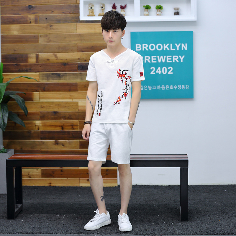 New Style Summer Chinese-style Large Size Embroidered Cotton Linen Short Sleeve T-shirt Shorts Two-Piece Set Men's Loose-Fit Fas