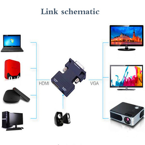 Image 5 - HDMI ל vga ממיר HDMI נקבה ל vga זכר 3.5 אודיו פלט מתאם דיגיטלי לאנלוגי HD 1080P עבור מחשב נייד Tablet רמקול