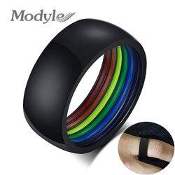 Modyle nowa moda 8MM minimalistyczny styl czarne złoto srebro kolor stal nierdzewna LGBT Pride Rings dla kobiet mężczyzn Rainbow biżuteria