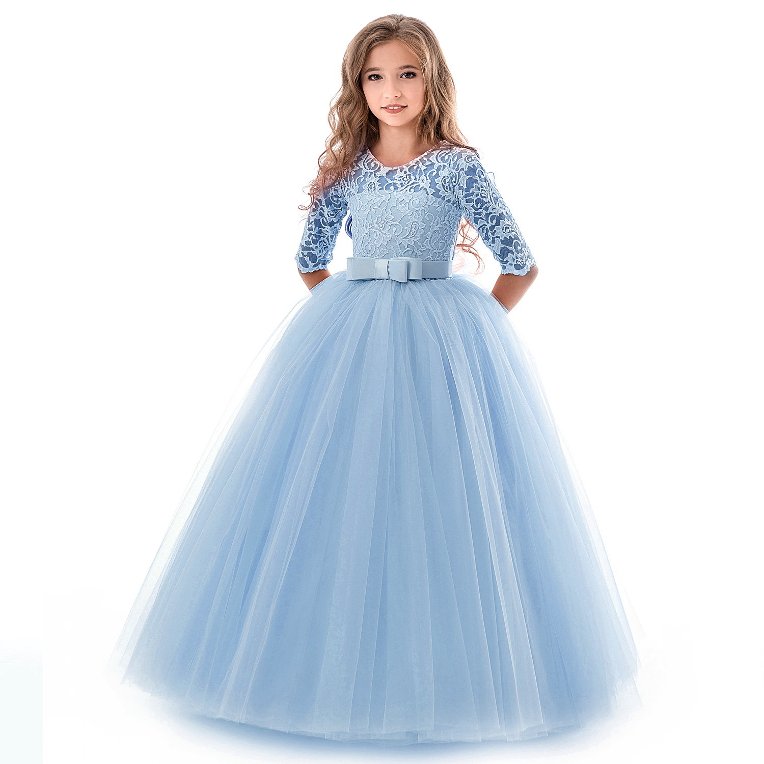 Girls Lace Dress For Wedding Embroidery Party Dresses Evening Christmas Girl Ball Gown Princess Costume Children Vestido 6 14Y 4