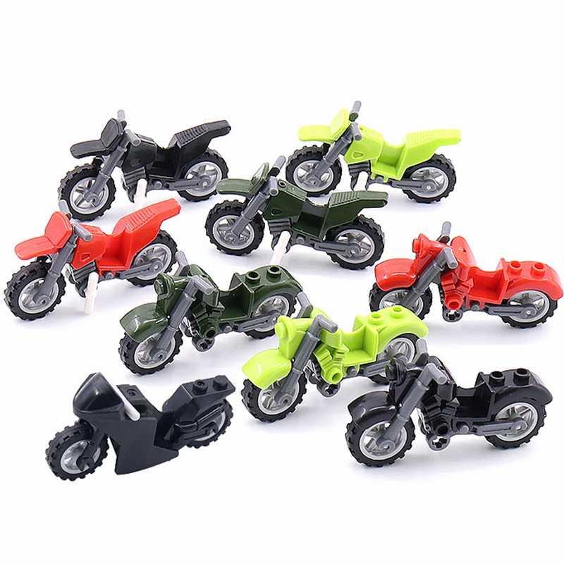 Wojskowy motocykl crossowy żołnierze sił zbrojnych SWAT broń broń policja miejska klocki akcesoria WW2 zabawki dla dzieci