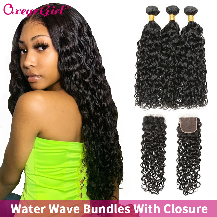 Water Wave Bundles With Closure Brazilian Hair Weave Bundles 4X4 Closure Remy Oxeye Girl 100% Human Hair Bundles With Closure